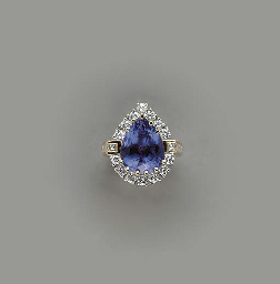 A TANZANITE, DIAMOND AND 14K G