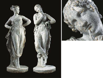 A PAIR OF ENGLISH PLASTER FIGU