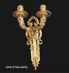 TWO PAIRS OF GILT METAL TWIN L