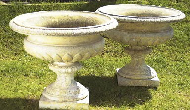 A PAIR OF LARGE STONEWARE URNS