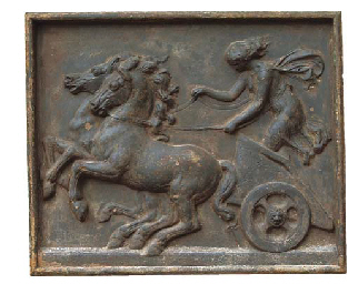 A LARGE CAST IRON RELIEF PANEL