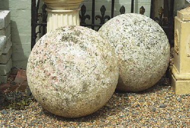 A PAIR OF LARGE PORTLAND STONE