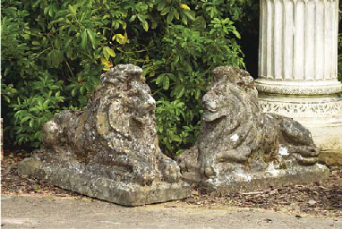 A PAIR OF COMPOSITE STONE RECU