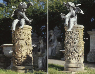A PAIR OF LEAD FIGURES OF BACC