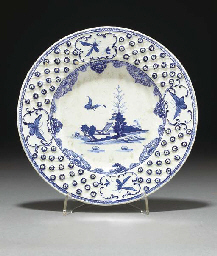 A Derby blue and white plate