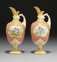 Two Royal Worcester pink-groun
