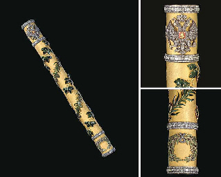 an extremely rare jeweled, enamel and gold russian field marshal's baton