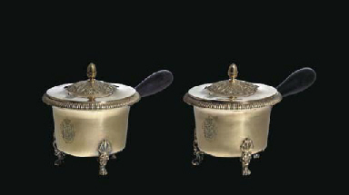 A PAIR OF FRENCH SILVER-GILT P