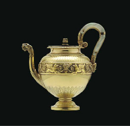 A FRENCH SILVER-GILT TEAPOT**