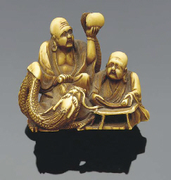 A Japanese ivory netsuke of tw