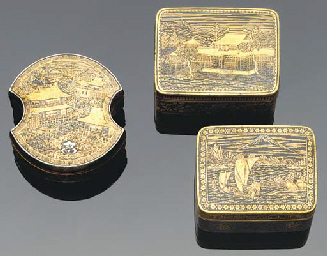 Three small Komai boxes and co