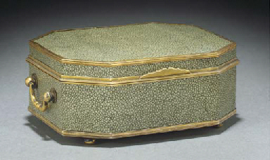 A silver gilt and shagreen cas