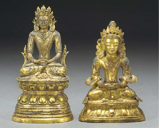 Two sino-Tibetan gilt bronze s