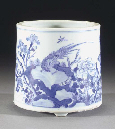 A Chinese blue and white cylin