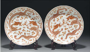 A pair of Chinese iron red dec
