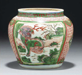 A Chinese wucai jar, 17th cent