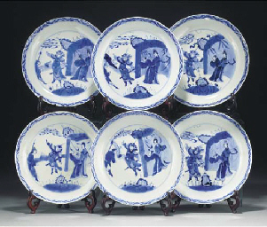 Six Chinese blue and white sau