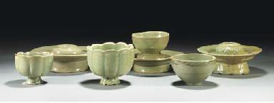 Three Korean celadon cup stand