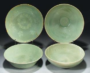 Four Korean celadon bowls, Kor