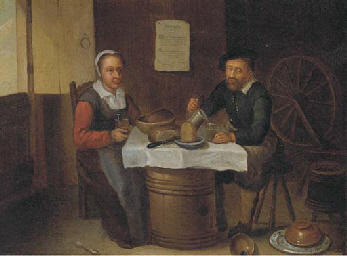 An elderly couple eating and d