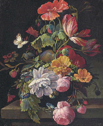 Roses, parrot tulips, poppies