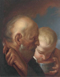 A man and a boy drinking from
