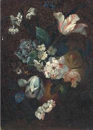 Parrot tulips, chrysanthemums,