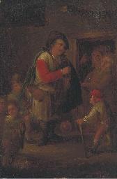 A pedlar at a cottage door