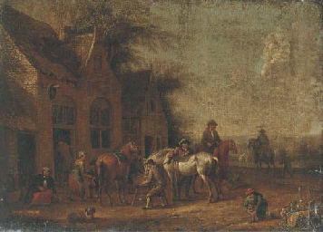 Travellers halted outside an i
