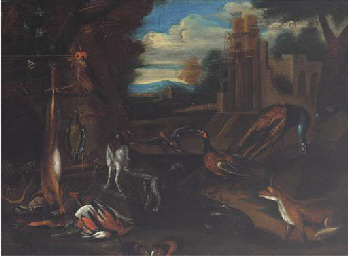 A landscape with dead game, a