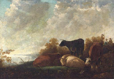 Cattle at rest by a river, dro