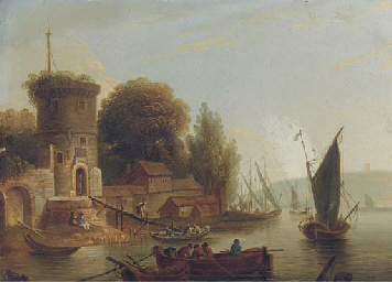 A river landscape with fisherm