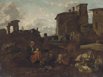 An Italainate landscape with a