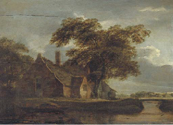 A landscape with a cottage and