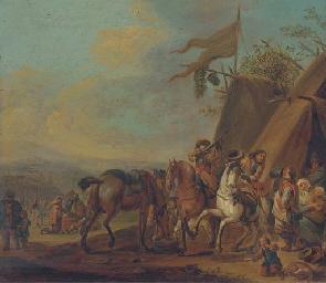 Cavalrymen halting at an encam