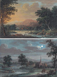 A river landscape at sunset wi