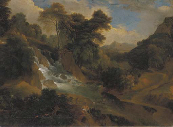 A wooded landscape with women