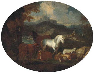 Horses, cattle, goats and rams