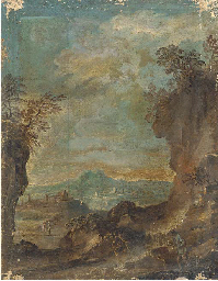 A landscape with travellers on