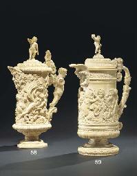 A German carved ivory lidded j