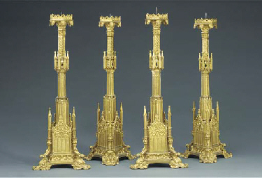 A set of four French Gothic Re