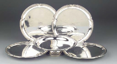 (5)  Four French silver salver