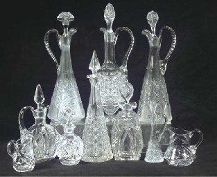 A collection of eight cut-glas