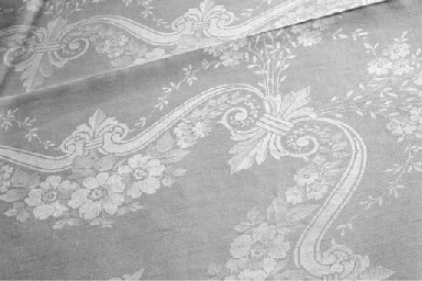 A large damask linen tableclot