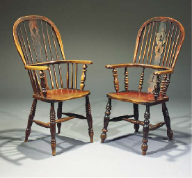 Two English stained elm and as