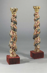 (2)  A PAIR OF POLYCHROME AND