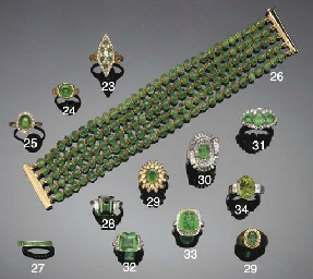 Two emerald and diamond cluste