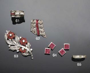A diamond and ruby clip