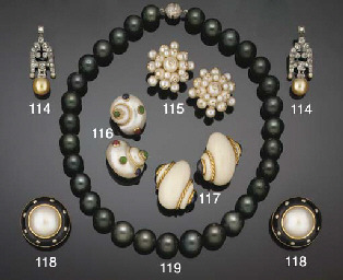 A pair of gem-set shell earcli