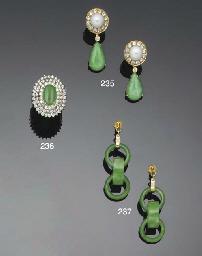 A pair of diamond, jade and cu